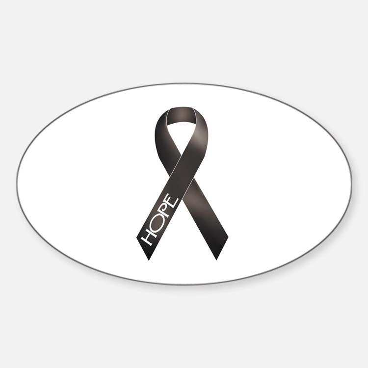 Black Ribbon Oval Decal