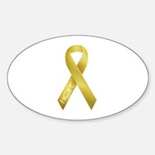 Gold Ribbon Oval Decal