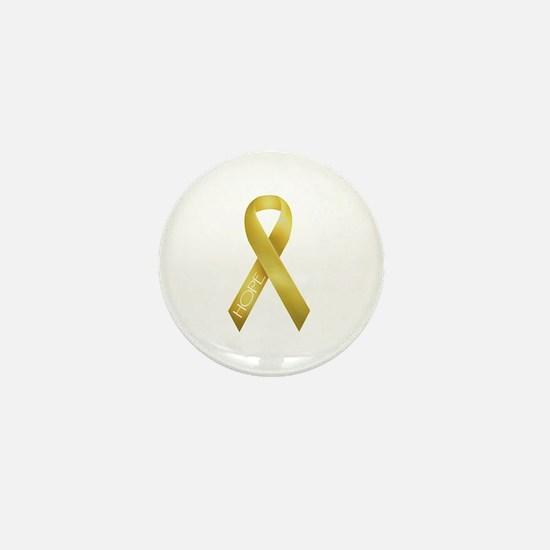 Gold Ribbon Mini Button