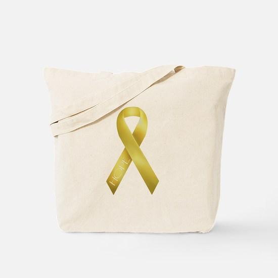 Gold Ribbon Tote Bag
