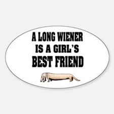 Wiener Friend Dachshund Oval Decal
