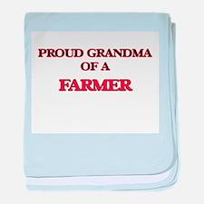 Proud Grandma of a Farmer baby blanket