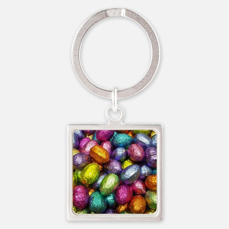 Cute Easter eggs Square Keychain