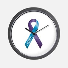 Purple/Teal Ribbon Wall Clock