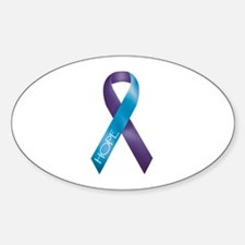 Purple/Teal Ribbon Oval Decal