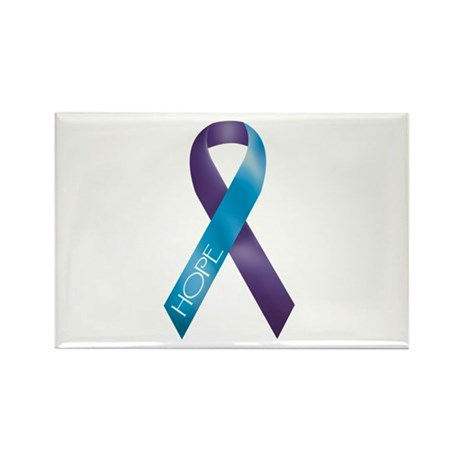 Purple/Teal Ribbon Rectangle Magnet (100 pack)