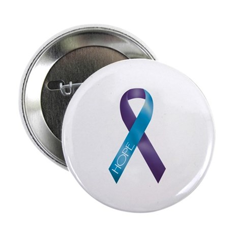 """Purple/Teal Ribbon 2.25"""" Button (100 pack)"""