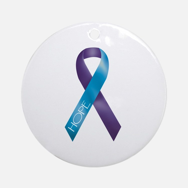 Purple/Teal Ribbon Ornament (Round)
