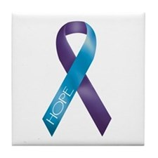 Purple/Teal Ribbon Tile Coaster