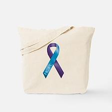 Purple/Teal Ribbon Tote Bag