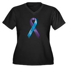 Purple/Teal Ribbon Women's Plus Size V-Neck Dark T