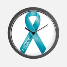 Teal Ribbon Wall Clock