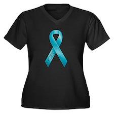 Teal Ribbon Women's Plus Size V-Neck Dark T-Shirt