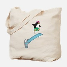 Funny Diving Penguin Tote Bag