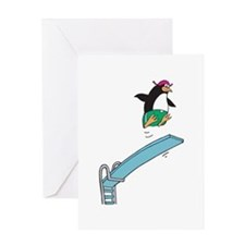 Funny Diving Penguin Greeting Card