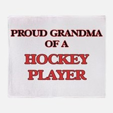 Proud Grandma of a Hockey Player Throw Blanket