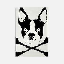 Boston Terrier Crossbones Rectangle Magnet