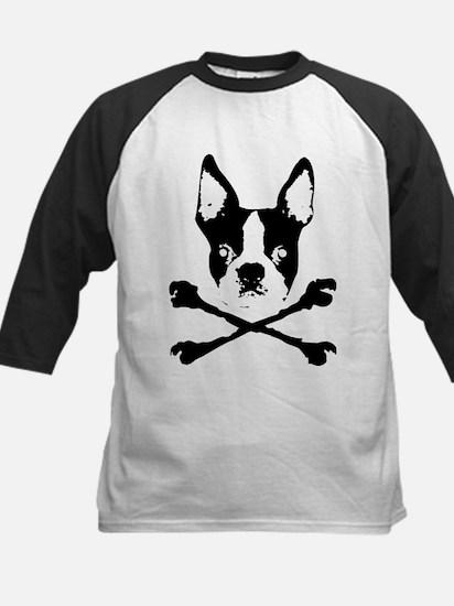 Boston Terrier Crossbones Kids Baseball Jersey