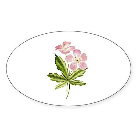 Elegant Pink Wildflowers Oval Sticker