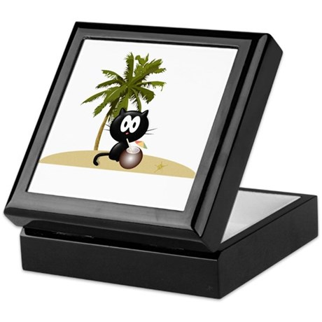 Tropical Kitty Keepsake Box
