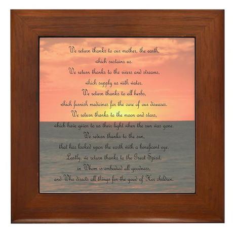Prayer for Giving Thanks Framed Tile