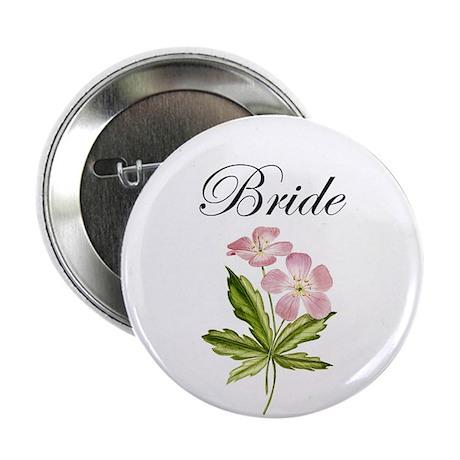 "Bride Design With Elegant Flowers 2.25"" Button (10"