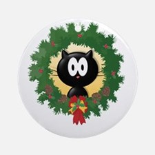 Holiday Kitty Ornament (Round)