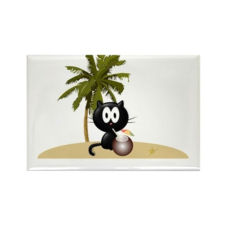 Tropical Kitty Rectangle Magnet