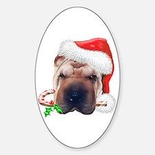 Shar Pei Christmas Oval Decal