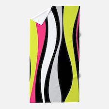 Neon Waves Beach Towel
