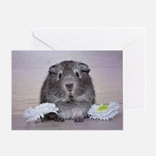 Adorable Guinea Pig and Flowers Greeting Cards