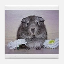 Adorable Guinea Pig and Flowers Tile Coaster