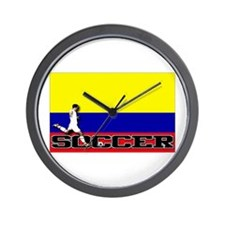 Colombia Flag Soccer Wall Clock