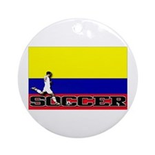 Colombia Flag Soccer Ornament (Round)