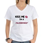 Kiss Me I'm a PALEOBOTANIST Women's V-Neck T-Shirt