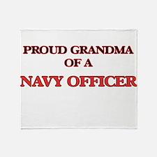 Proud Grandma of a Navy Officer Throw Blanket