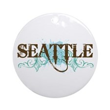 Seattle WA Grunge Ornament (Round)