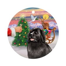 Santa's Treat for his Newfie Ornament (Round)