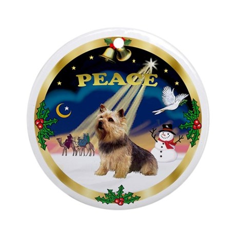 Gold-Peace-Norwich Terrier Ornament (Round)