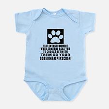 Doberman Pinscher Awkward Dog Desi Infant Bodysuit
