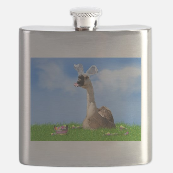 Easter Goose with Bunny Ears and Easter Bask Flask