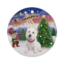 Santa's Take Off & Westie Ornament (Round)