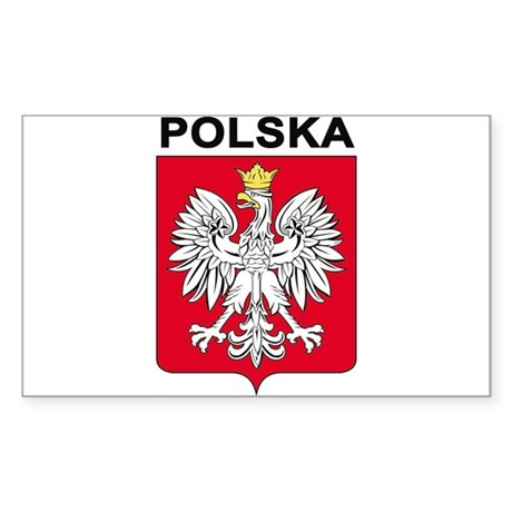 Poland arms with name Rectangle Sticker
