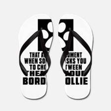 Border Collie Awkward Dog Designs Flip Flops