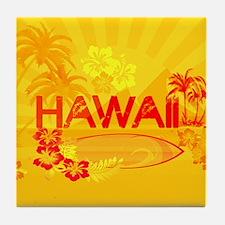 hawaii bright orange surf Tile Coaster
