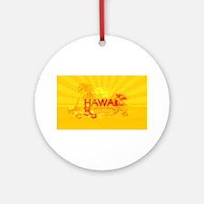 hawaii bright orange surf Round Ornament