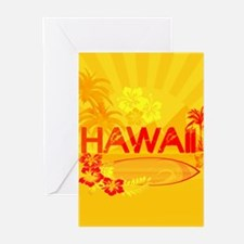 hawaii bright orange surf Greeting Cards