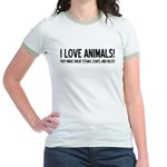 I Love Animals Jr. Ringer T-Shirt