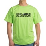 I Love Animals Green T-Shirt