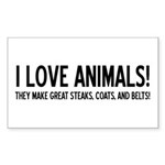 I Love Animals Rectangle Sticker